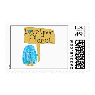 Teal love your planet postage stamp