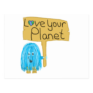 Teal love your planet postcard