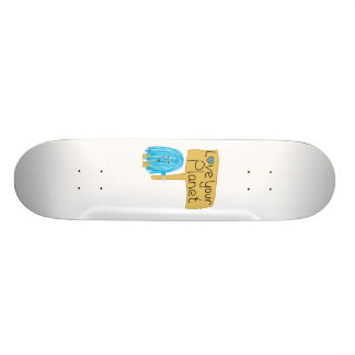 Teal love your planet skateboard deck