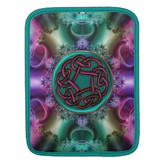 Teal Magenta Celtic Knot Fractal Mandala Sleeve iPad Sleeve
