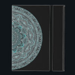 """Teal Mandala iPad Case<br><div class=""""desc"""">Mandalas are beautiful and intricate artforms. This unique teal and white design on a black background was created using an iPad,  so it is fitting to put it on an iPad case.  Perhaps you can draw inspiration from this digital drawing.</div>"""