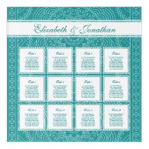 Teal Mandala Wedding Party 12 Table Seating Chart Acrylic Print