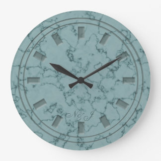 Teal marble effect customised wall clock
