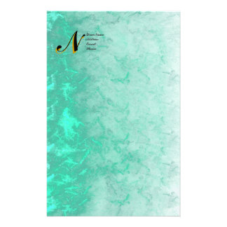 Teal Marble Monogram Initial Stationery