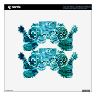 Teal Marble PS3 Controller Skins