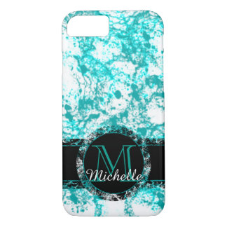 Teal Marbled Customizable Monogram Phone Case