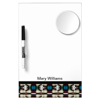 Teal Maroon Abstract Pattern Dry Erase Board With Mirror