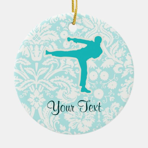 Teal Martial Arts Double-Sided Ceramic Round Christmas Ornament