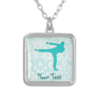 Teal Martial Arts Square Pendant Necklace