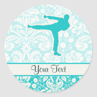 Teal Martial Arts Classic Round Sticker