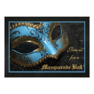 Teal Mask Masquerade Ball Halloween Invitation