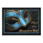 "Teal Mask Masquerade Ball Halloween Invitation 5"" X 7"" Invitation Card"