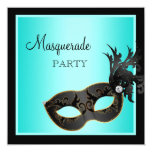 Teal Mask Masquerade Sweet 16 Invites