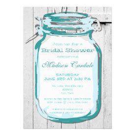 Teal Mason Jar Barn Wood Bridal Shower Invitations