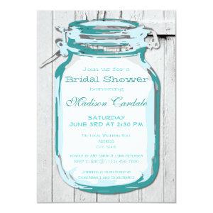 Teal Mason Jar Barn Wood Bridal Shower Invitations Custom Invites