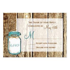 Teal Mason Jar Barn Wood Rustic Wedding RSVP Cards