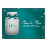 Teal Mason Jar Fireflies Wedding Thank You Card