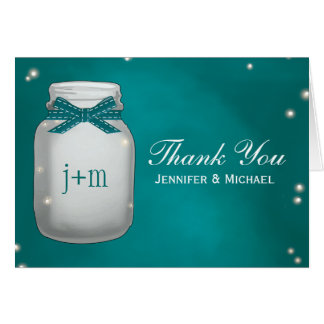 Teal Mason Jar Fireflies Wedding Thank You Card