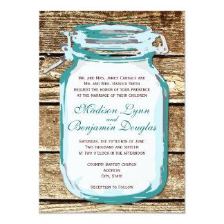 "Teal Mason Jar Rustic Barn Wood Wedding Invitation 4.5"" X 6.25"" Invitation Card"