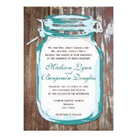 Teal Mason Jar Rustic Barn Wood Wedding Invitation