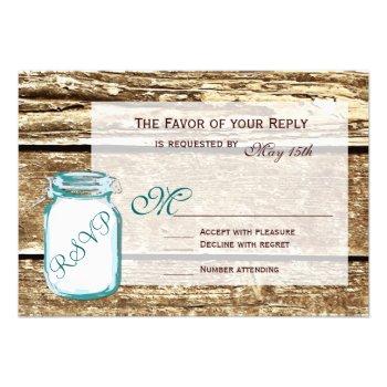 Teal Mason Jar Rustic Barn Wood Wedding RSVP Cards