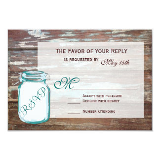 "Teal Mason Jar Rustic Barn Wood Wedding RSVP Cards 3.5"" X 5"" Invitation Card"