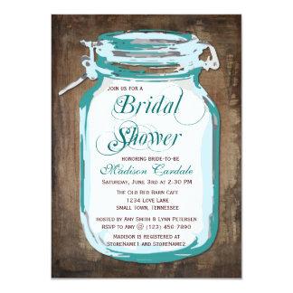 Teal Mason Jar Rustic Bridal Shower Invitations Invitations