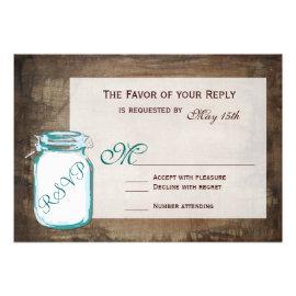 Teal Mason Jar Rustic Brown Wedding RSVP Cards