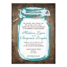 Teal Mason Jar Rustic Country Wedding Invitations