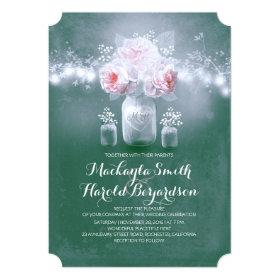 teal mason jar rustic string lights wedding invitation