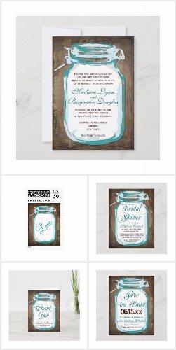 Teal Mason Jar Rustic Wedding Invitation Set