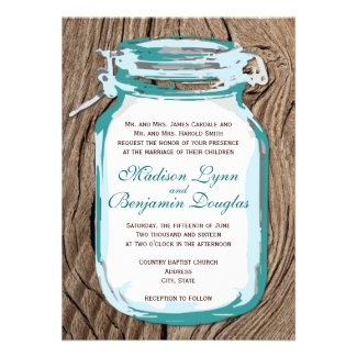 Teal Mason Jar Rustic Wood Wedding Invitation