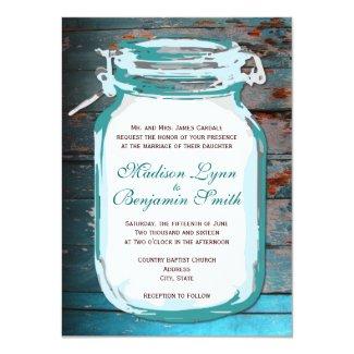 Teal Mason Jar Rustic Wood Wedding Invitation Ver2 4.5