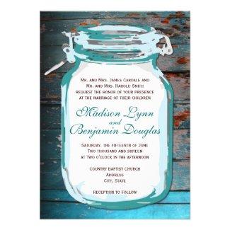 Teal Mason Jar Rustic Wood Wedding Invitations