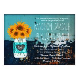 Teal Mason Jar Sunflowers Rustic Wedding Invites