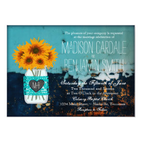 Teal Mason Jar Sunflowers Rustic Wedding Invites