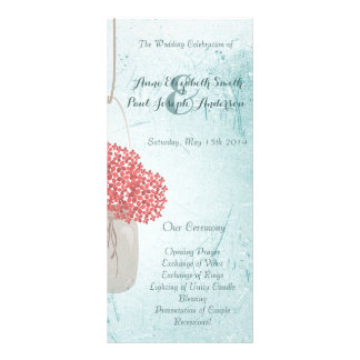 Teal Mason jar wedding programs