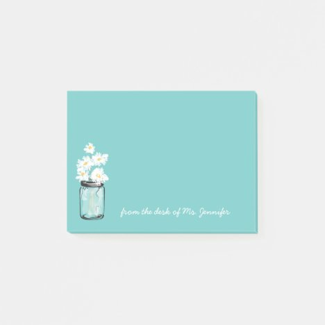 Teal Mason Jar White Daisy Floral Personalize Note