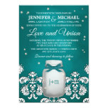 Teal Mason Jar with Fireflies Wedding 5x7 Paper Invitation Card