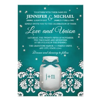 Teal Mason Jar with Fireflies Wedding Personalized Invites