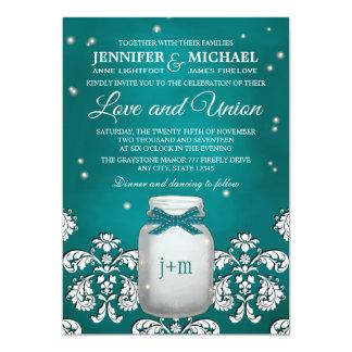 Teal Mason Jar with Fireflies Wedding 5x7 Paper Invitation Card