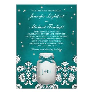 Teal Mason Jar with Fireflies Wedding Personalized Invitations