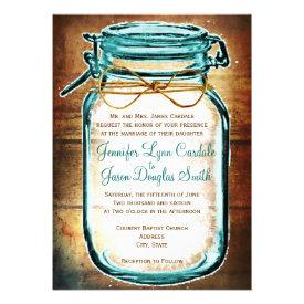 Teal Mason Jar Wood Rustic Wedding Invitations