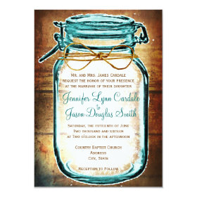 Teal Mason Jar Wood Rustic Wedding Invitations