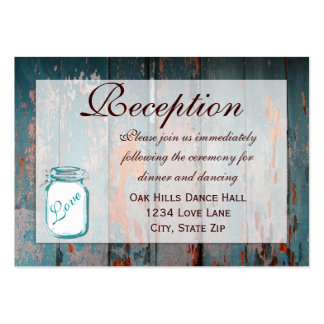 Teal Mason Jar Wood Wedding Reception Cards Large Business Cards (Pack Of 100)