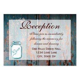 Teal Mason Jar Wood Wedding Reception Cards Business Card Template