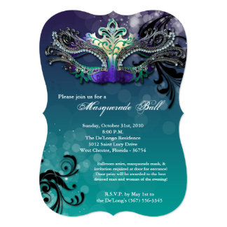 Teal Masquerade Ball Mask Costume Halloween Part Card