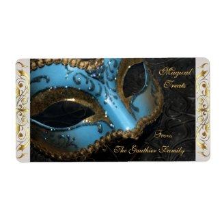 Teal Masquerade Mask Halloween Baking Label label