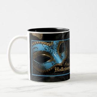 Teal Masquerade Mask Halloween Party Mug