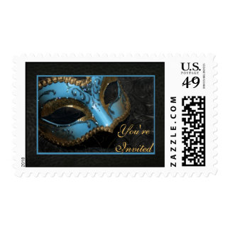 Teal Masquerade Mask Halloween Party Postage